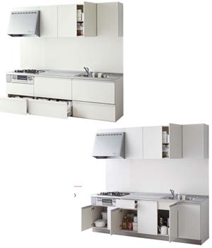 ラクエラI型キッチンの間口や奥行をチェック!「スライド収納プラン」「開き扉プラン」の詳細