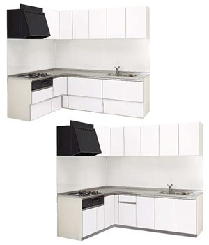 ラクエラL型キッチンの間口などの寸法は?「スライド収納プラン」「開き扉プラン」の場合