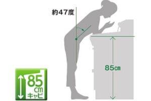毎日使うものだから、体の負担を軽減。カウンターの高さを85cmに!